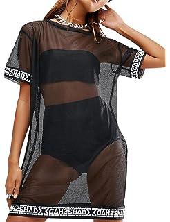 6440884779 WuLun Women's Sexy Cover Ups Short Sleeve See Through Gauze Mesh T-Shirt  Dress