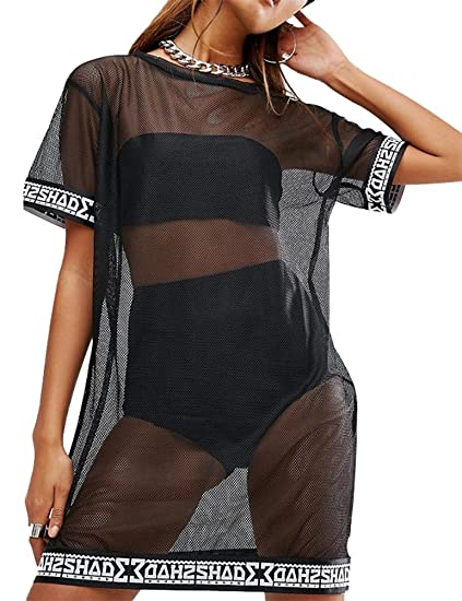Wulun Womens Sexy Cover Ups Short Sleeve See Through Gauze Mesh T