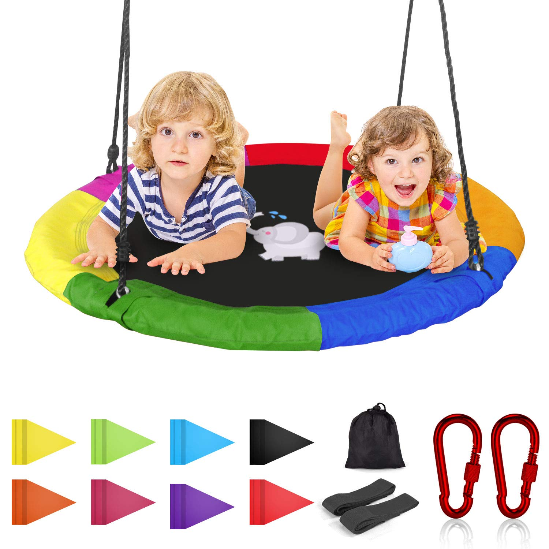 Joychoic Tree Swing,Extra Large 40'' Diameter Outdoor Tree Swing,Bonus Swing Straps Set of 2,Flag Set and 2 Carabiners