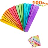 MOZOLAND Colored Craft Stick Natural Jumbo Wood Popsicle Sticks for DIY Crafts Creative Designs 100 PCS 6 Inches