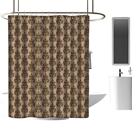 Hinxinv Chocolate,Blue Shower Curtains For Bathroom, Damask Inspired  Abstract Eastern Culture Pattern Ornamental