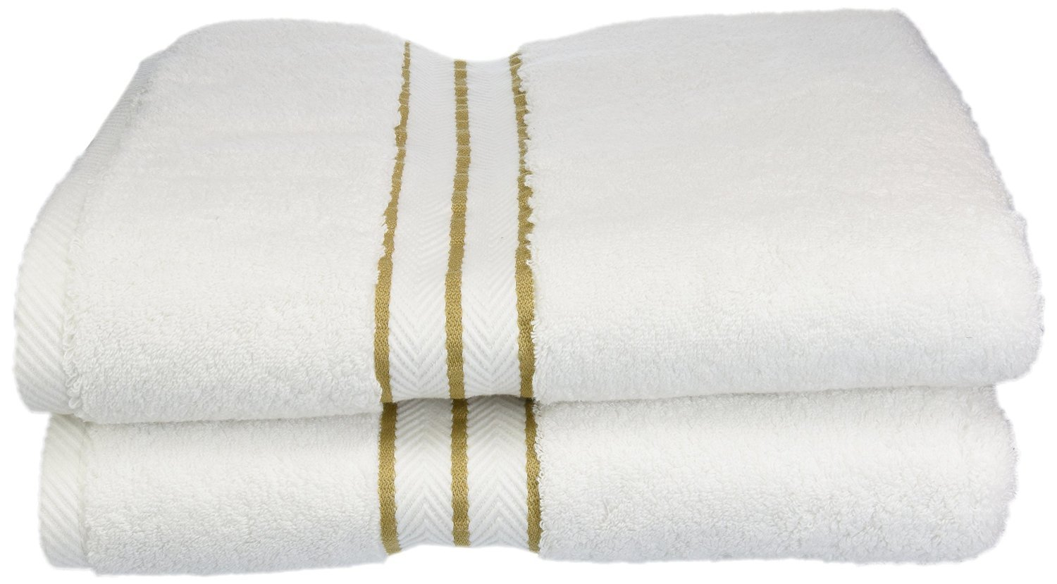 Superior Hotel Collection 900 Gram, 100% Premium Long-Staple Combed Cotton 2 Piece Bath Towel Set, White with Toast Border