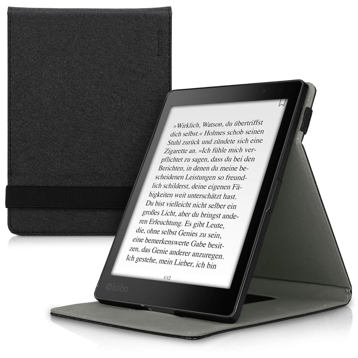 kwmobile Cover for Kobo Aura ONE - Case with Built-In Hand Strap and Stand in black