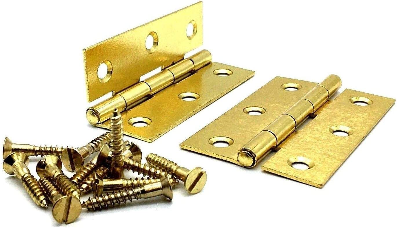 2 x 3 Butt Hinges 75mm Door Hinge Electro Brass Plated Steel with Screws