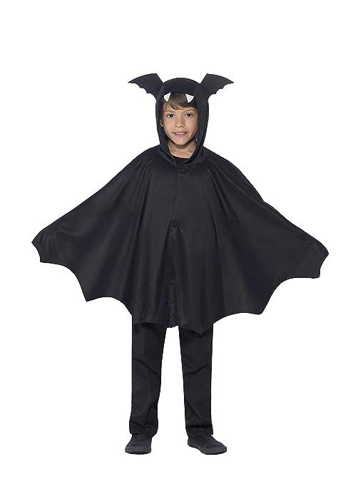 Smiffys capa de Murciélago para niños de 4 a 9 años, colo negro, Talla