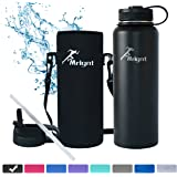 Stainless Steel Vacuum Insulated 40/32 OZ Sports Water Bottle|Best Water Bottle for Men&Women|BUY ONE GET THREE FREE GIFTS-A Straw Lid& A Bottle Pouch & A Bottle Brush