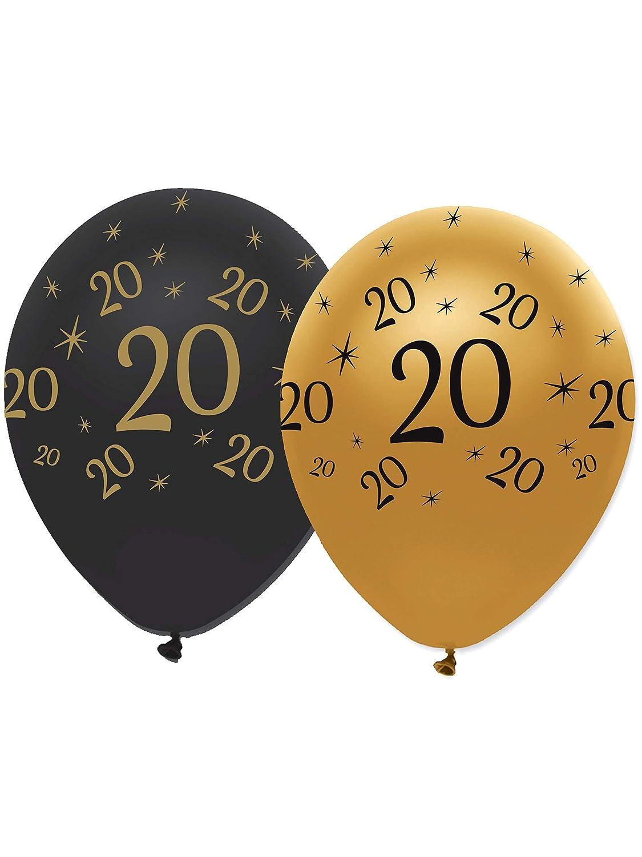 6 Ballons Latex Noir et Or 20 Ans Generique