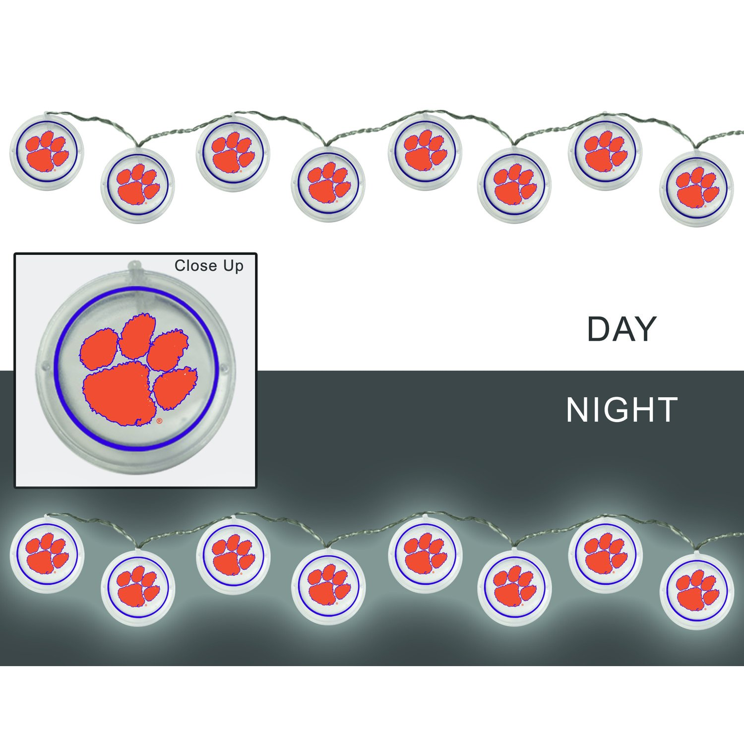 Team Sports America Clemson University Outdoor Safe Battery Powered String Light Set by Team Sports America (Image #1)