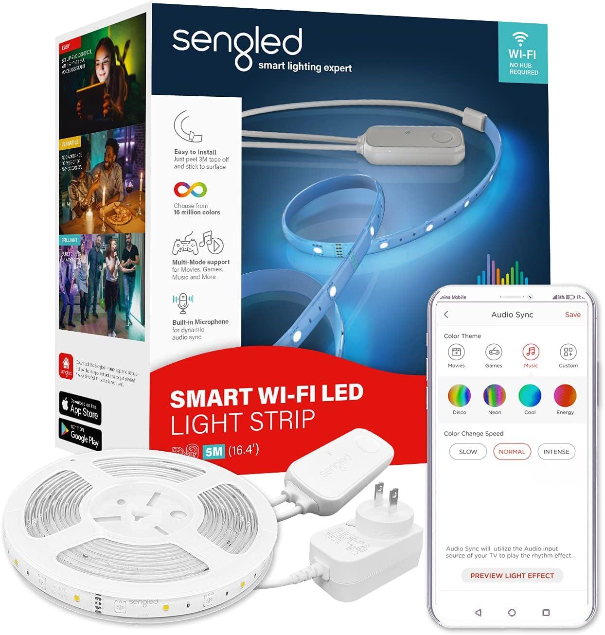 Sengled Smart LED Strip Lights, 16.4ft WiFi LED Lights Work with Alexa Google Home, Color Changing Smart Light Strip with APP and Voice Control, Alexa Lights for Bedroom Decor, Music Sync RGB Lights