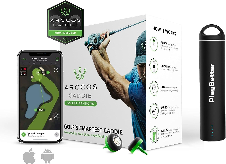 Arccos Lot de 14 capteurs de Caddie pour Jeux de Golf avec système de Suivi GPS pour iOS et Android Arccos Caddie (14 Sensor Set) with PlayBetter Portable Smartphone Charger