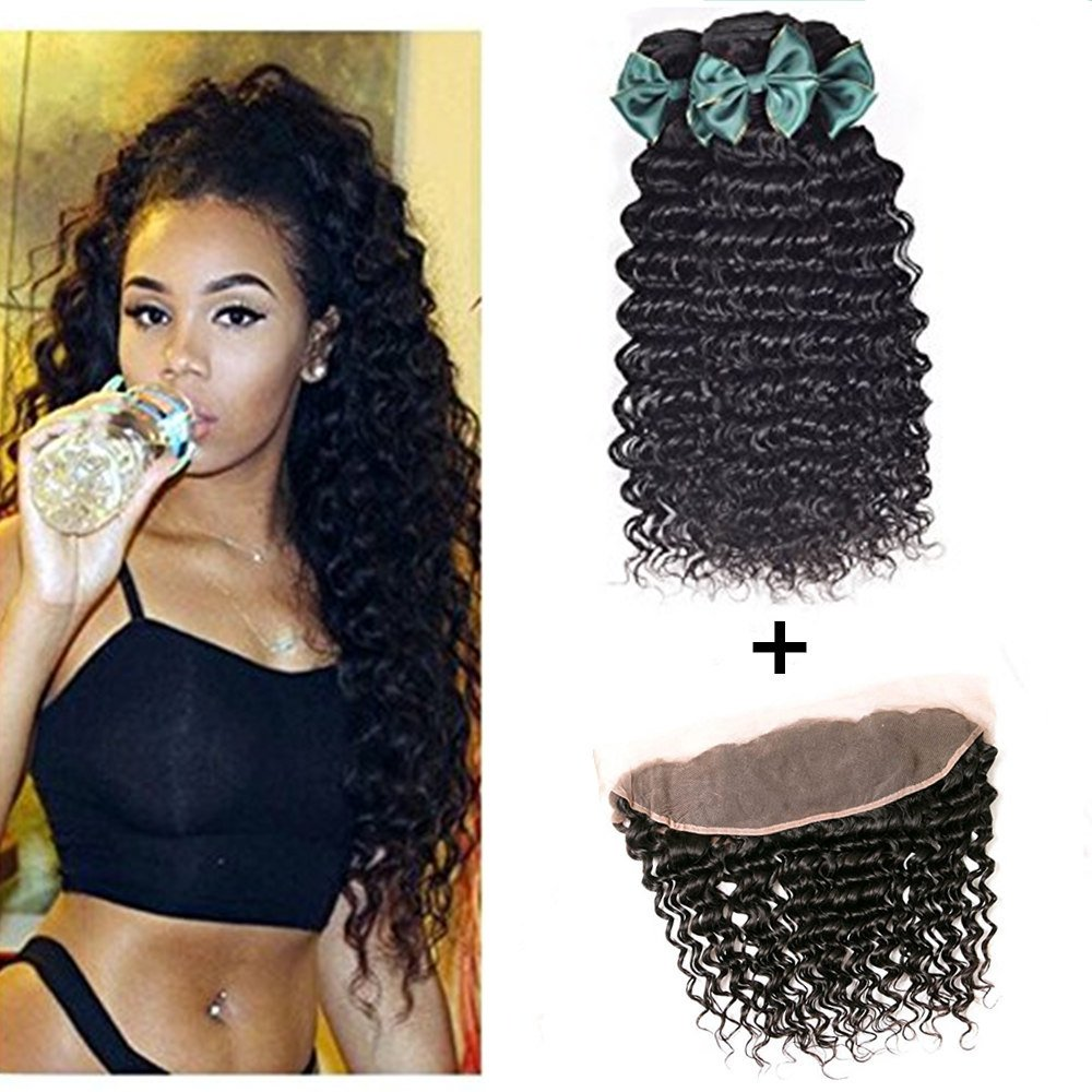 100% Human Hair Bundles mit Lace Frontal Deep Wave Bundles mit Ohr zu Ohr Lace Frontal Unprocessed Virgin Brazilian Hair(10 12+8 Lace Frontal, Natural Color)