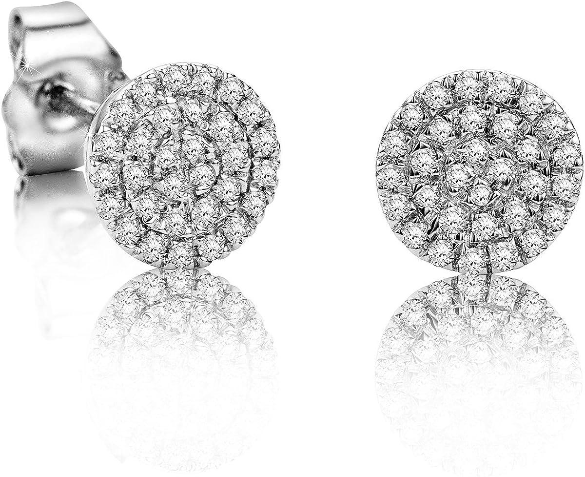 Pendientes Orovi con diamantes, para mujer, juego de oro blanco de 9 quilates (375) y diamantes de 0,177 quilates