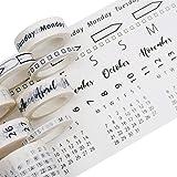 Crafty Giraffe Co. Calendar Washi Tape Set - 4 Sizes 35mm 15mm 10mm 5mm, Decorative Patterned Masking Tape for Arts Crafts Bu