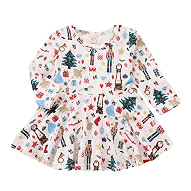 Toddler Baby Kids Girls Princess Dress Cartoon Printed Long Sleeve Dress Clothes