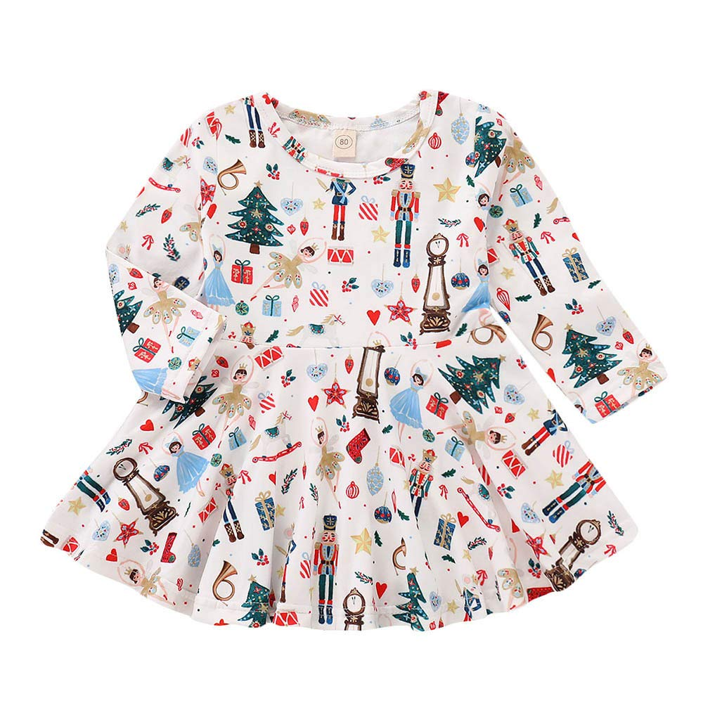 Muium Toddler Infant Baby Christmas Dresses Kids Girls Cartoon Deer Dot Long Sleeved Warm Clothes Outfits for 0-4 Years Old