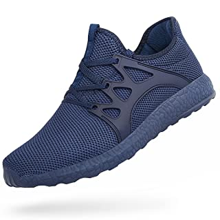 Feetmat Tennis Shoes for Men Non Slip Mesh Running Gym Shoes Lightweight Knitted Walking Athletic Shoes Blue 12.5