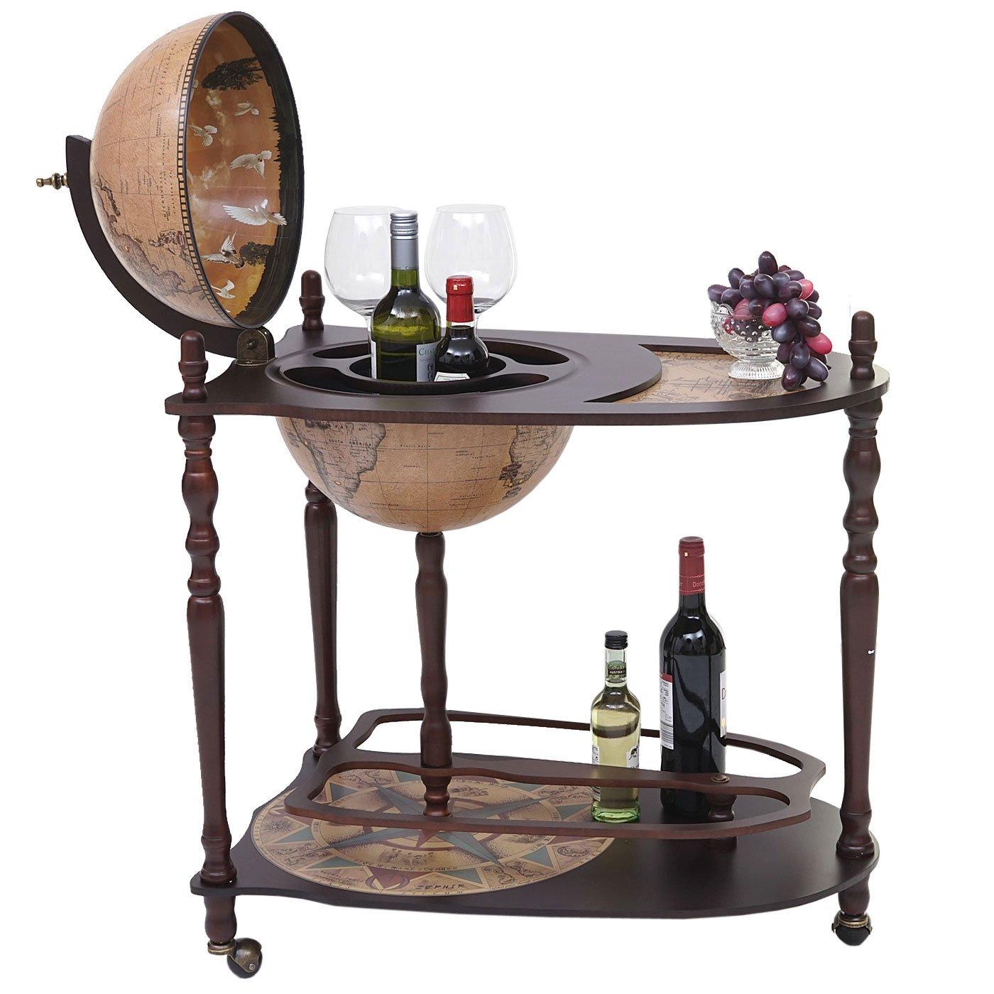 Globusbar mit Tisch HWC-T875, Minibar Hausbar Tischbar, Weltkugel rollbar Eukalyptusholz