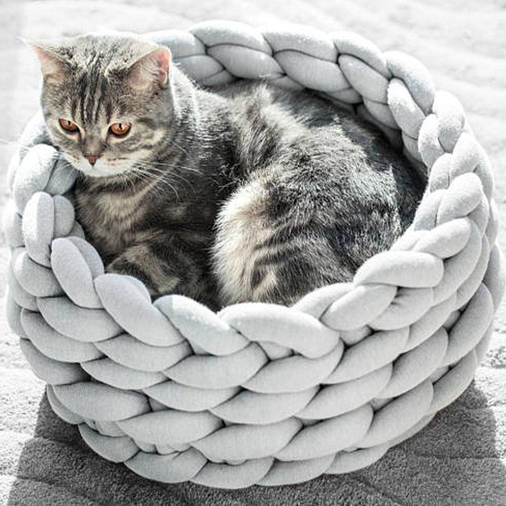 Light Grey Diameter-14inch Light Grey Diameter-14inch Braid Cat Bed,Cat Bed,Cat House,Chunky Cat Bed,Chunky Cat House,Chunky Knit Pet Bed,Handmade Cozy Kitten Bed,Cat Furniture,Cat Cave (Diameter-14inch, Light Grey)