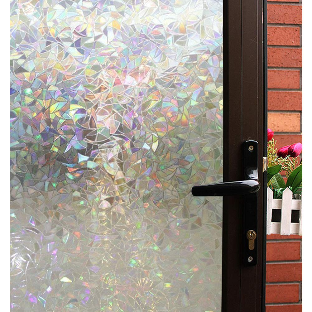 Mikomer 3d decorative window filmclear glass filmrainbow effect door window decorationstatic cling vinyl heat control anti uv for kitchendining room