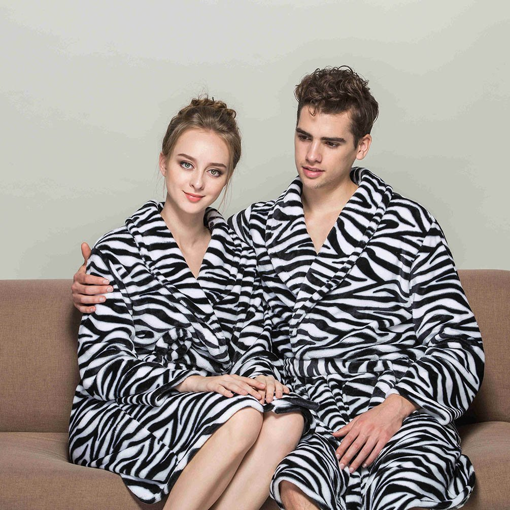 4ee9d61597 MingTai Unisex Womens Towelling Dressing Gown Ladies Mens Soft Long Zebra  Animal Print Dressing Gowns Bath Robe Housecoat With Belt Size XL   Amazon.co.uk  ...