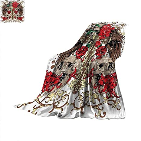 889844e98d8d2 Amazon.com: Tattoo Lightweight Blanket Mexican Sugar Skull Design 50