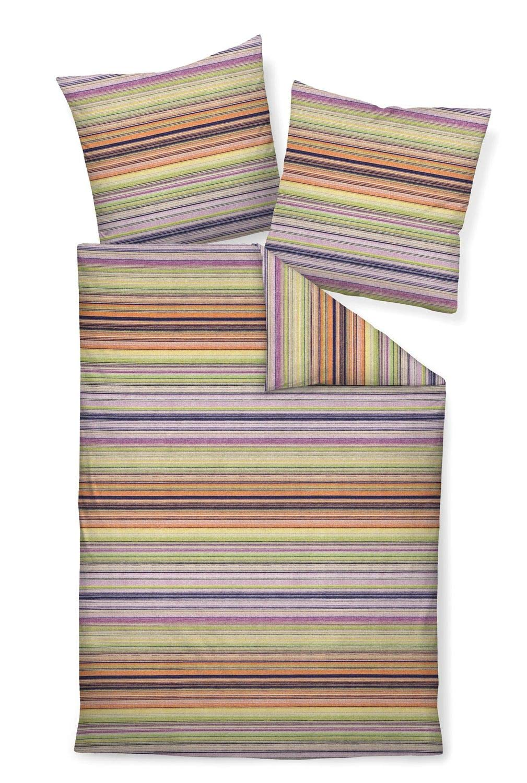 Janine Biber Bettwäsche 3 teilig Bettbezug 240 x 220 cm Kopfkissenbezug 80 x 80 cm DAVOS Streifen orange grün beere