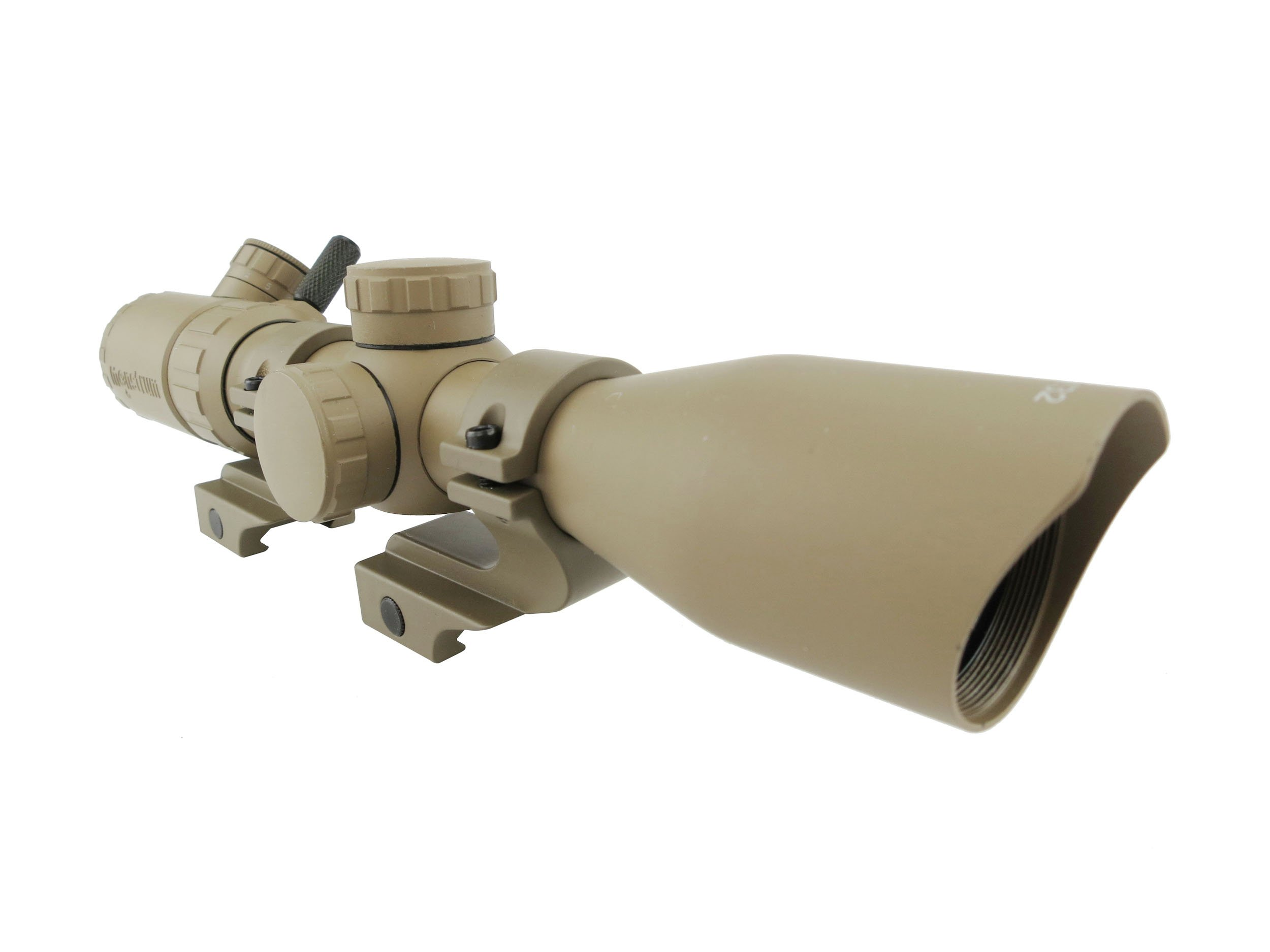 Monstrum 3-9x32 Rifle Scope with Rangefinder Reticle and Offset Reversible Scope Rings | Flat Dark Earth by Monstrum