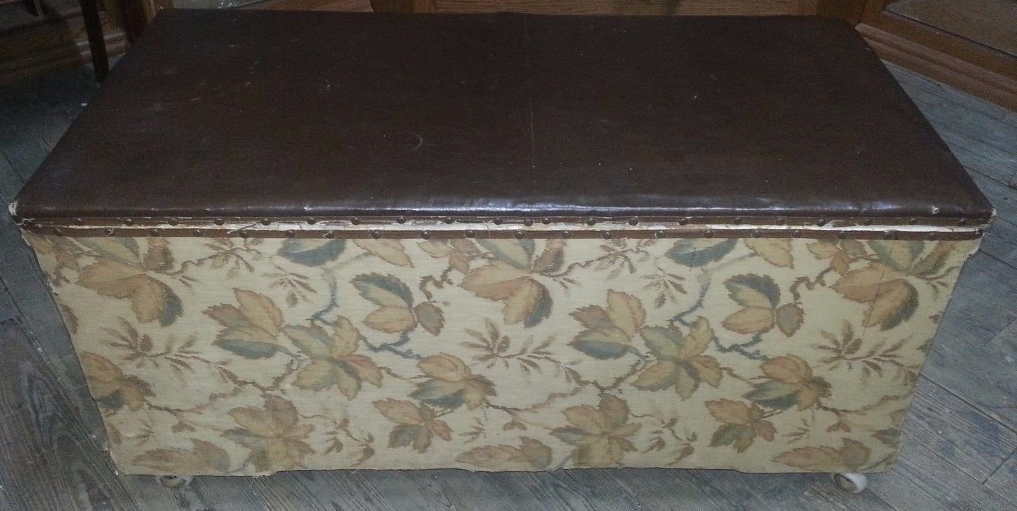 Vintage Chest or Trunk with Floral Fabric and Leather Top on Wheels HANDY