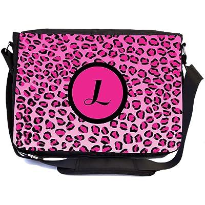 "high-quality Rikki Knight Letter ""L"" Hot Pink Leopard Print Monogrammed Design Multifunction Messenger Bag - School Bag - Laptop Bag - with padded insert for School or Work - includes Pencil Case"