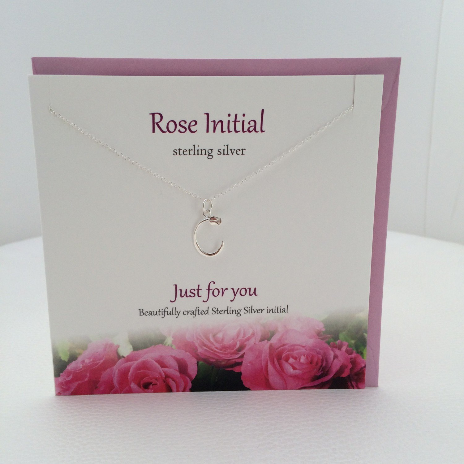 Beautiful Rose On Initial Letter C Initial Rose Sterling Silver Pendant// Necklace By Sterling Effectz