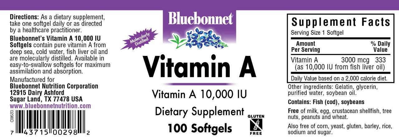 Amazon.com: Bluebonnet Nutrition, Vitamin A 10,000 Iu, 100 Count: Health & Personal Care
