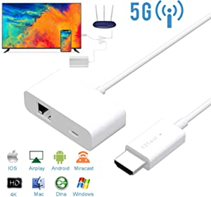 WiFi Display Dongle HDMI, Mbuynow 5G/2.4G Wireless HDMI Display Adapter, Screen Mirroring Dongle Receiver Support Airplay, Ezcast, DLNA, Google Home Mirror for iOS/Android/Windows/Mac Devices