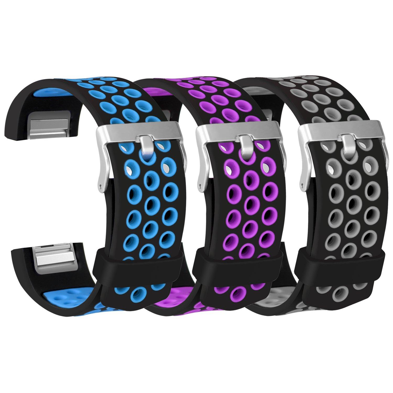 eseekgo for Fitbit Charge 2バンド、ソフトシリコンバンドfor Fitbit Charge 2通気性交換用スポーツフィットネスアクセサリーリストバンド(トラッカーなし) B0775RRK9G Grey+Purple+Blue Large Size (5.5\
