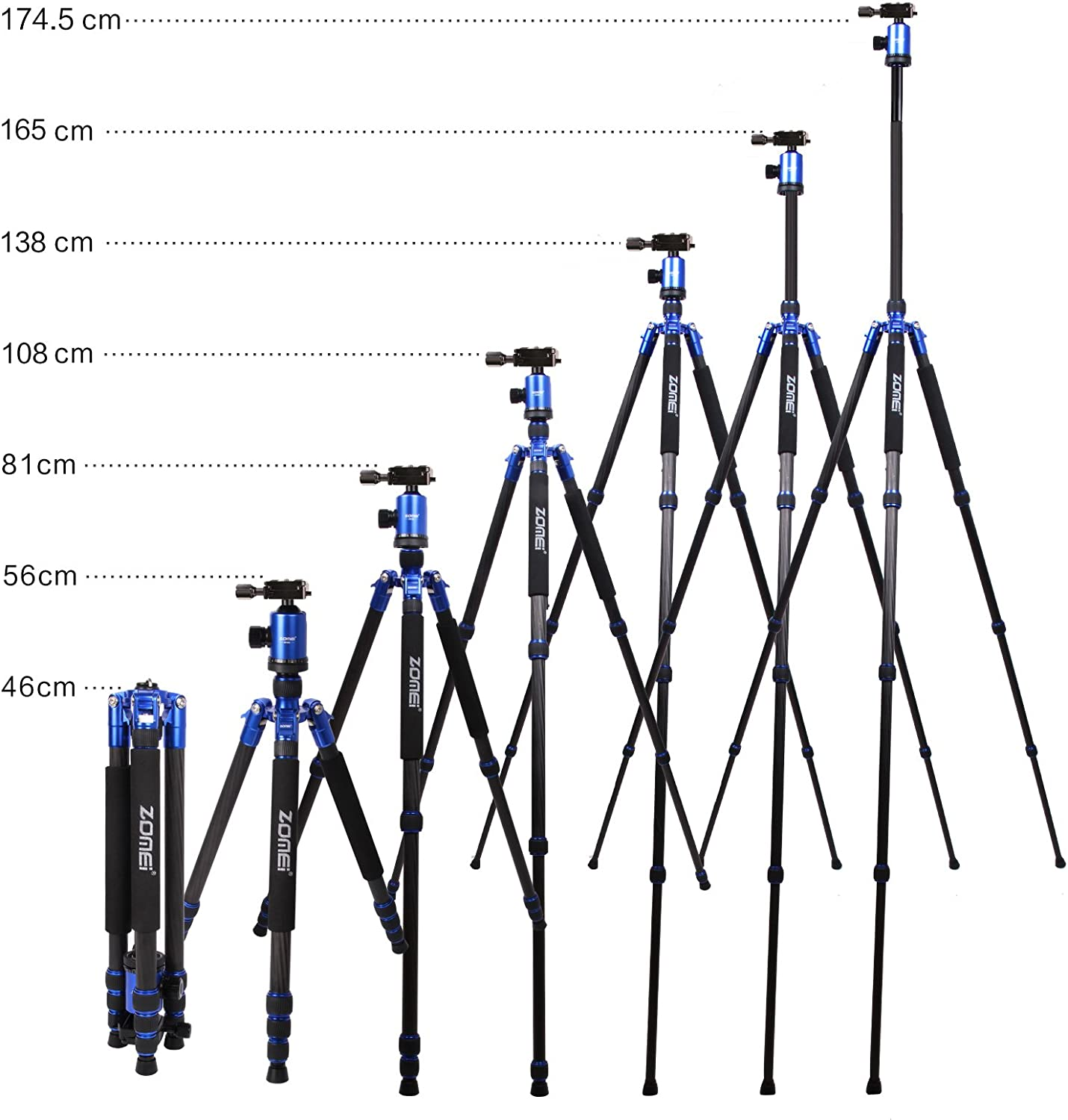 Cameras and Video Camcorder Blue Nikon Panasonic Fuji Zomei Z888C Professional Portable Carbon Fiber Tripod Stand with Ball Head Compact Travel for Canon Sony Olympus