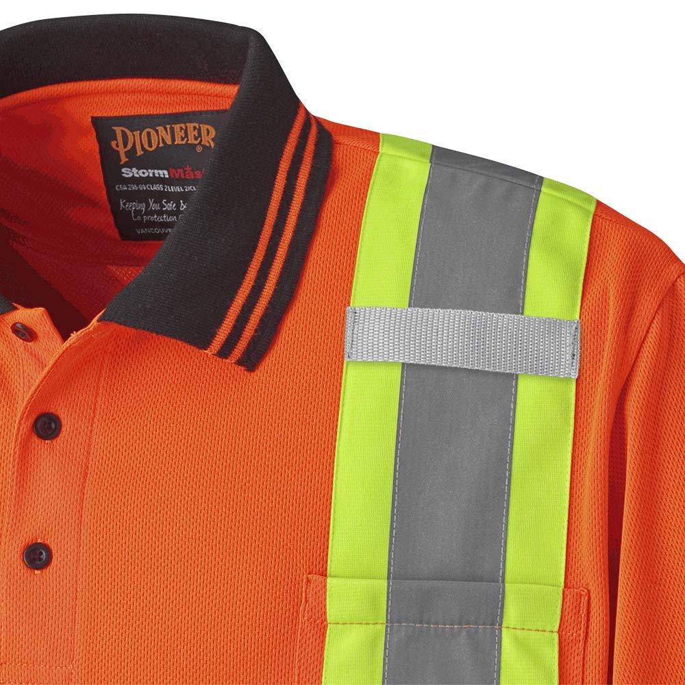 Orange V1051350-L L Premium Birdseye Pioneer Soft Moisture-Wicking High Visibility Safety Polo Shirt