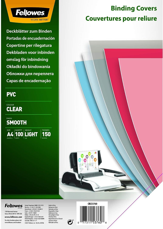 Fellowes Portadas para encuadernar de PVC transparente, formato A4, 150 micras, pack de 100 (5376001)