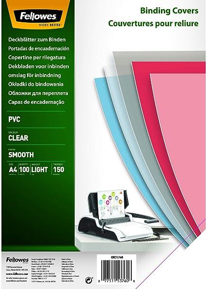 Fellowes Portadas para encuadernar de PVC transparente, formato A4, 150 micras, pack de 100: Amazon.es: Oficina y papelería