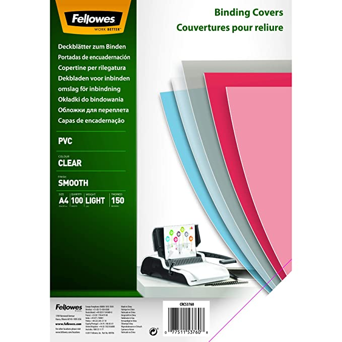 120 opinioni per Fellowes 5376001 Copertine per Rilegatura in PVC Trasparente, Formato A4, 150