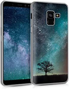 kwmobile Case Compatible with Samsung Galaxy A8 (2018) - TPU Crystal Clear Back Protective Cover IMD Design - Cosmic Nature Blue/Grey/Black