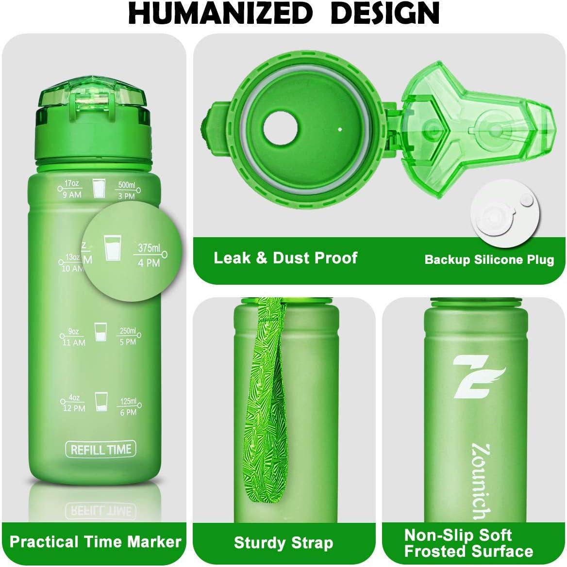 Botella Agua Ni/ños sin BPA Reutilizable Pl/ástico Tritan 500 ml // 700 ml // 1 l // 1.2 l para Infantil Gimnasio Cantimploras para Te con Filtro Bicicleta ZOUNICH Botella Agua Deporte