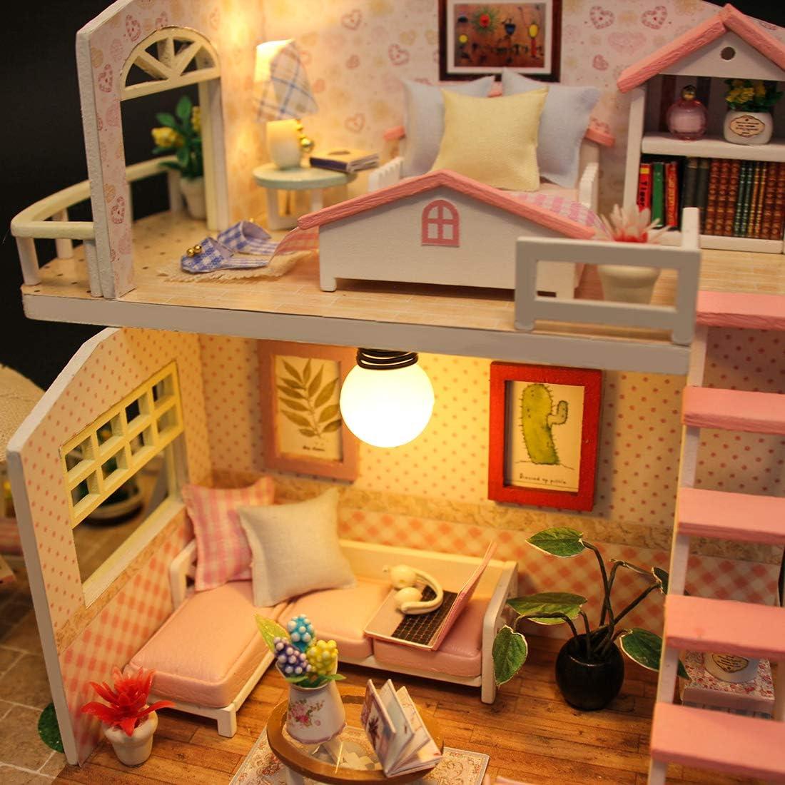 Mini-apartamento Madera con Muebles y Accesorios Casa Peque/ña Juguete con M/úsica y Luces Regalo para Adulto Ni/ños K9CK Casita de Mu/ñecas