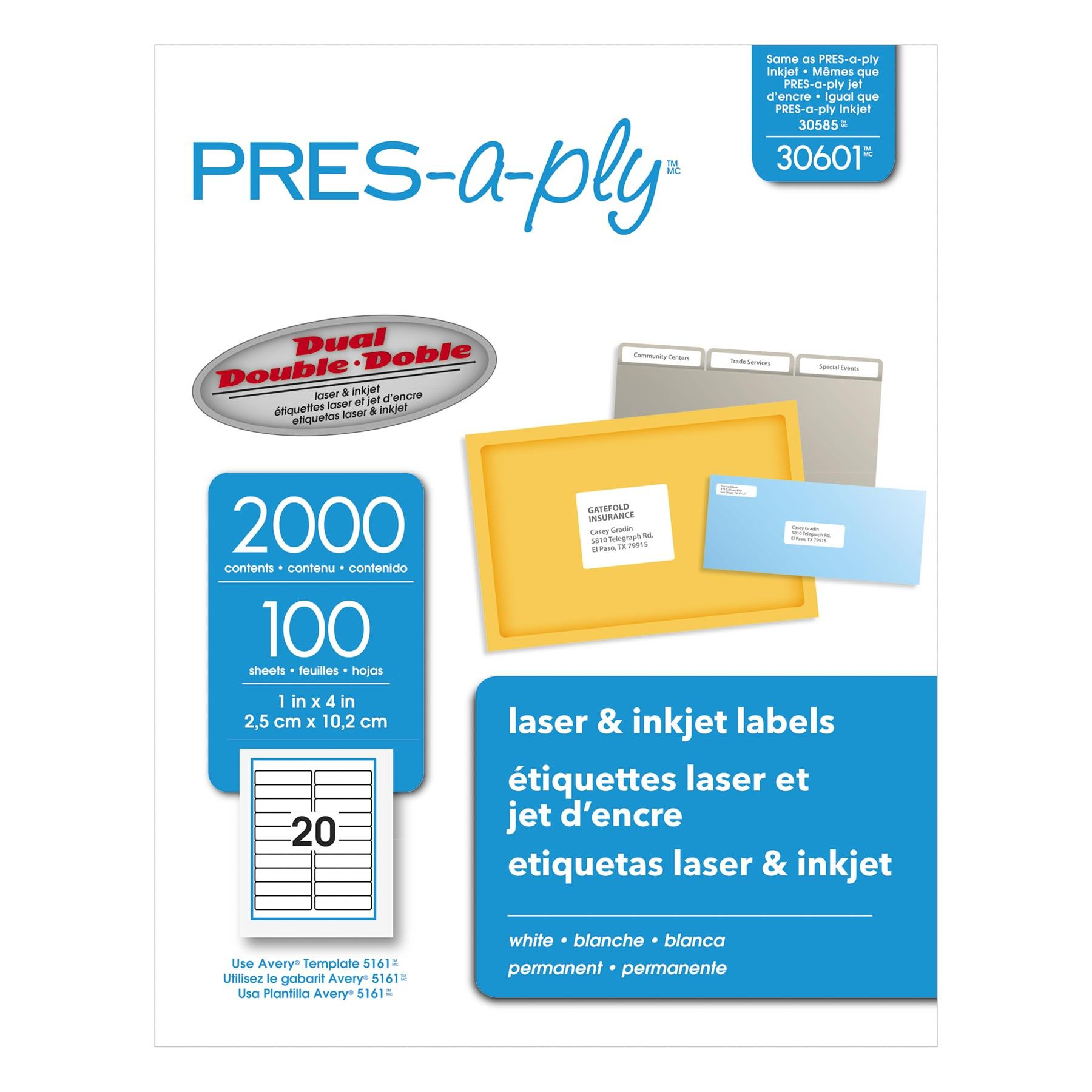 Pres-a-ply Laser Labels, 1 x 4 Inch, White, 2000 Count (30601)