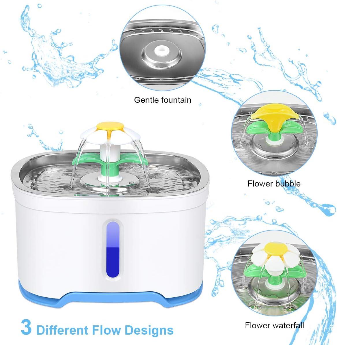 Fuente para mascotas OGIMA Para perros 2,5 L dispensador de agua con bomba inteligente y sistema de filtro gatos y otras mascotas Con indicador de nivel de agua