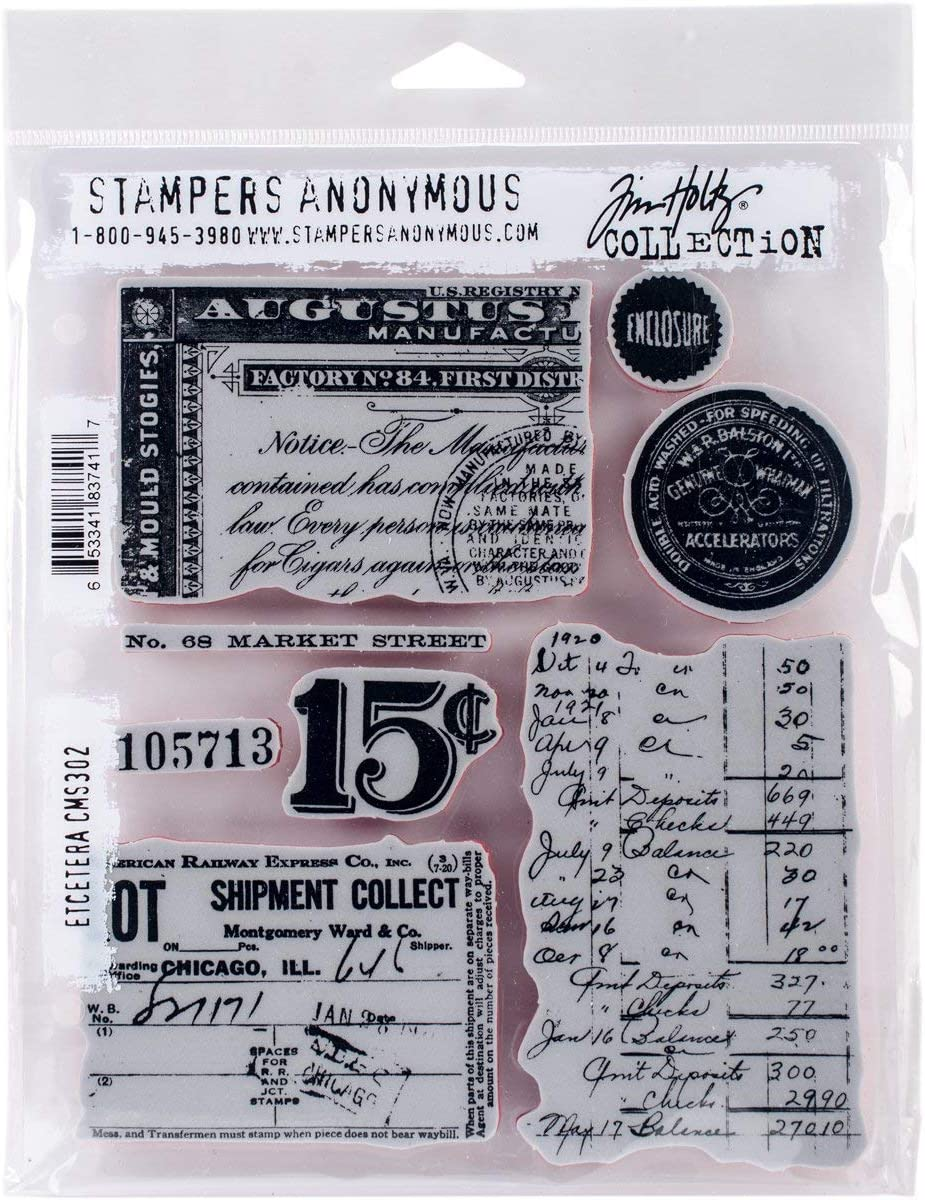 Art Gone Wild Tim Holtz Etcetera Cling Rubber Stamp Set, 24.5 x 18 x 0.6 cm, Multi-Colour