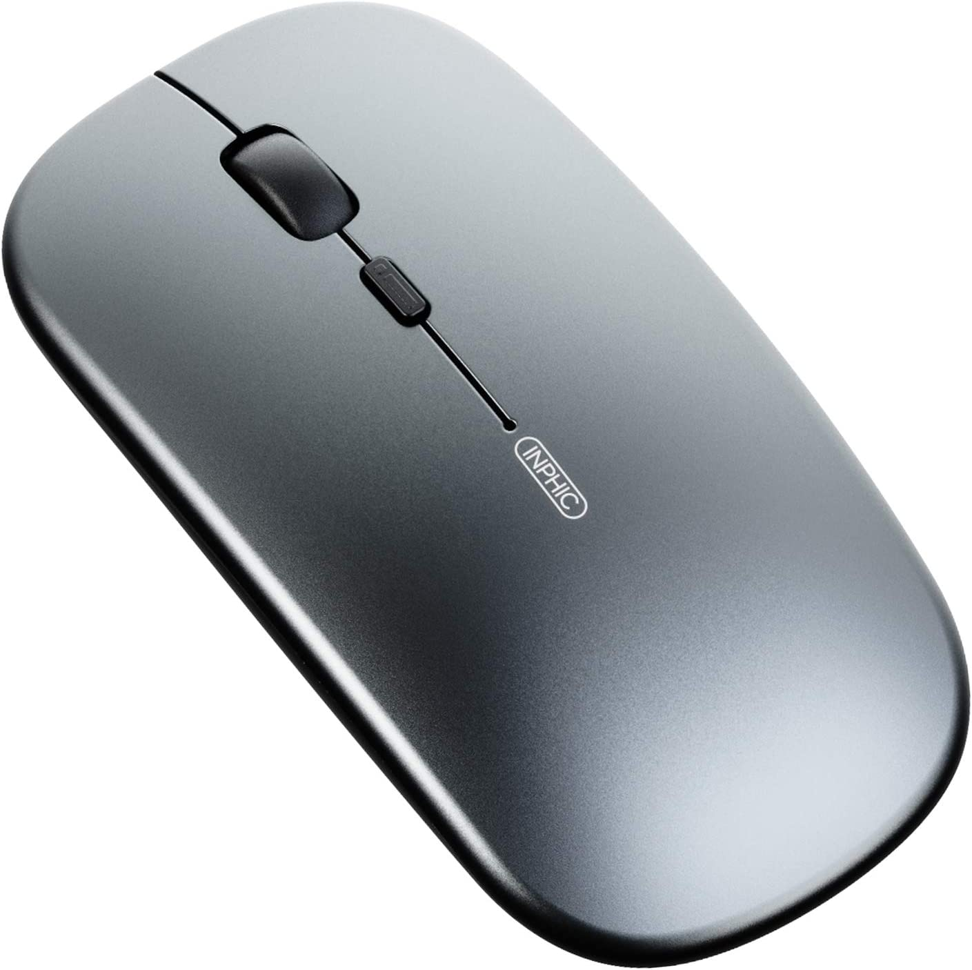 Inphic Multi-Device Slim Silent Rechargeable Bluetooth Wireless Mouse Android Tablet Bluetooth Mouse Tri-Mode: BT 5.0//3.0+ 2.4G USB 1600DPI Cordless Mice for iPad Laptop PC Mac MacBook Pro