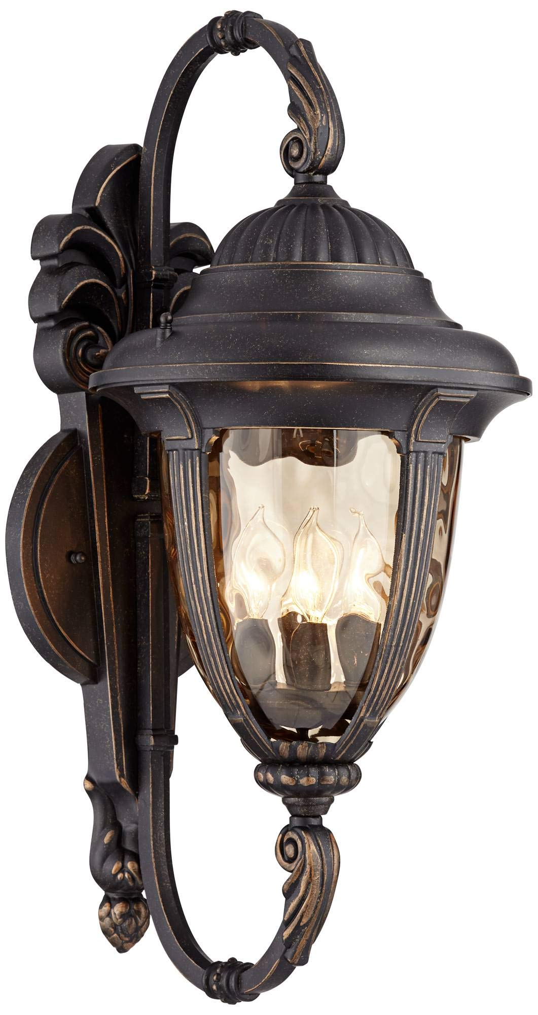 Bellagio Traditional Outdoor Wall Light Fixture Veranda Bronze Double Arm 27 1/2'' Champagne Hammered Glass for House Porch - John Timberland