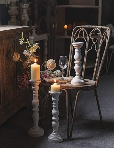1Pack, 4.9 x 4.9 x 6.1 Farmhouse Antique Candlestick Holder for Dining Table Vintage White Wooden Pillar Candle Holder Or Any Table Top Coffee Table Rustic Candle Holder for Pillar Candle