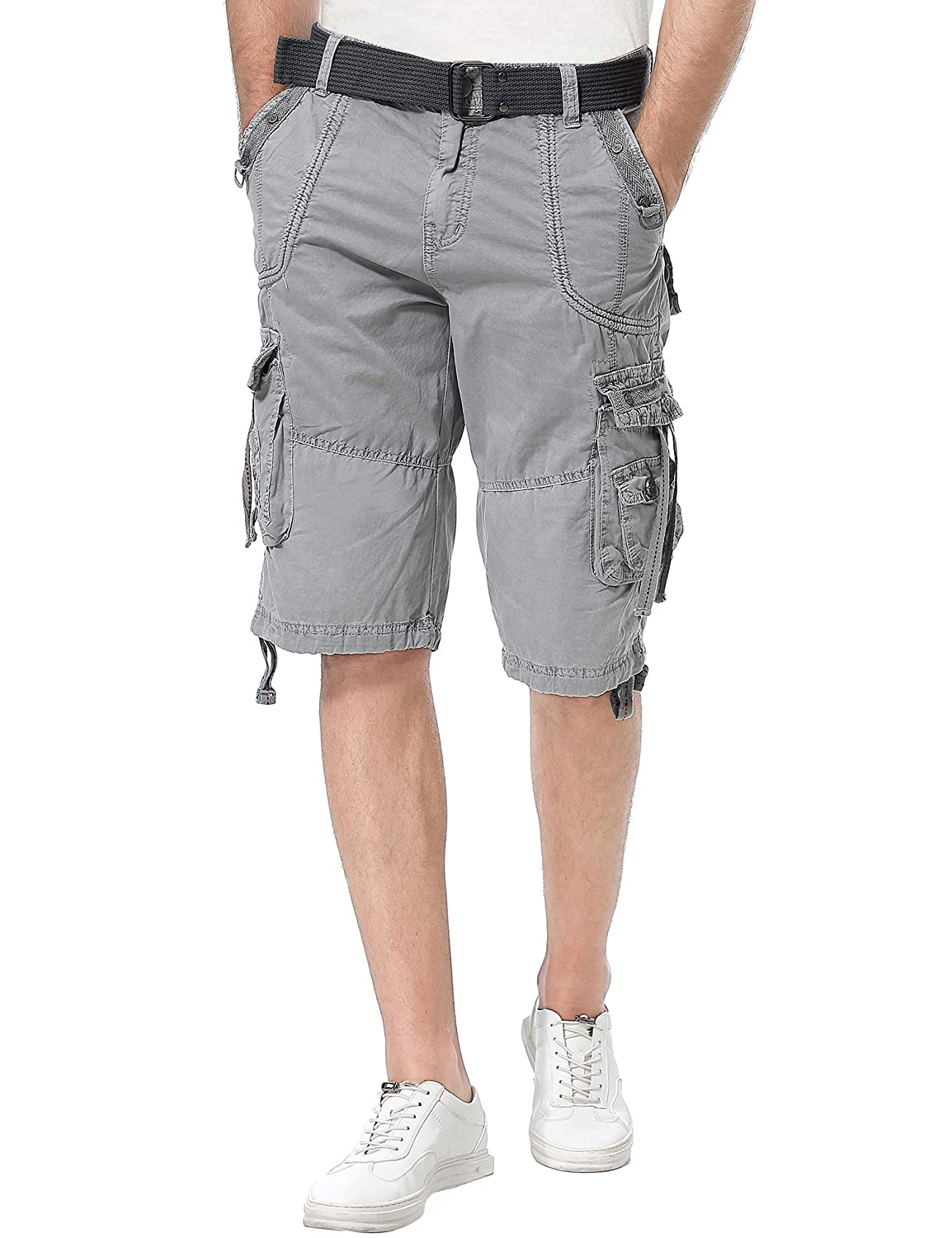 fa66df2627 Resfeber Mens Cargo Shorts Casual Classic Fit Short New Belted Wyoming Cargo  Short | Amazon.com