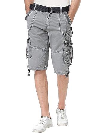 04c70847bc Resfeber Mens Cargo Shorts/Mens Loose Fit Athletic Twill Cargo Shorts Pants  ASH-30