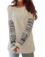 ZANZEA Women's Sexy Casual Autumn Print Loose Long Sleeve Round Neck Tops Blouse T-Shirt